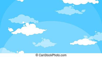 Cartoon white clouds moving up blue sky