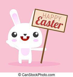 Cartoon White Easter Bunny