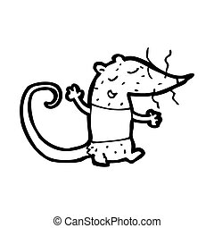 cartoon white lab rat