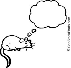 cartoon white mouse with thought bubble