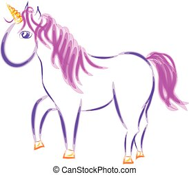 unicorn with pink mane and tail