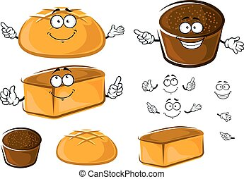 Cartoon white wheat and rye brown breads characters - Fresh...