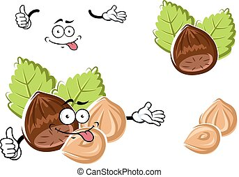 Cartoon whole and peeled hazelnut - Cartoon hazelnut...