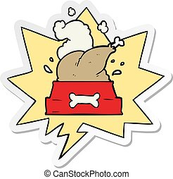 cartoon whole cooked turkey crammed into a dog bowl for a happy christmas pup and speech bubble sticker