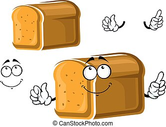 Cartoon whole grain bread character