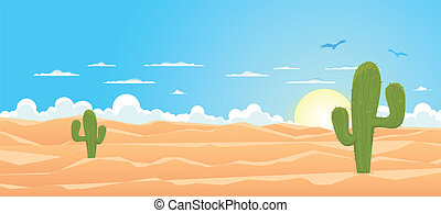 Illustration of a cartoon mexican or Texas desert landscape with cactus, sand dunes and vultures flying in the sky