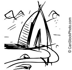 Cartoon wigwam - House isolated on white. Sketch vector...