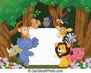 Cartoon wild animal holding blank s - Vector illustration of...