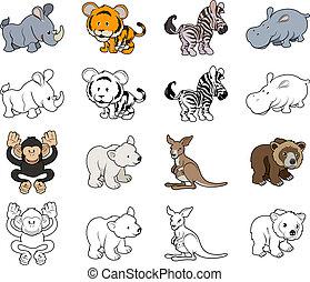 Cartoon Wild Animal Illustrations - A set of cartoon wild...