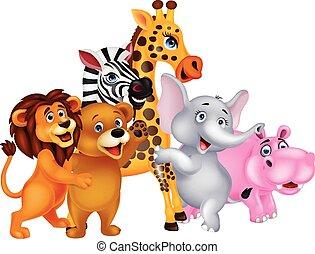Cartoon wild animal posing