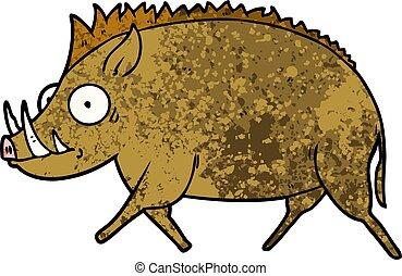 cartoon wild boar
