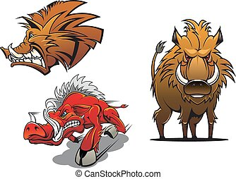 Forest wild boars cartoon mascots showing red and brown angry pigs with ruffled fur and aggressive grin for tattoo or sport team symbol design