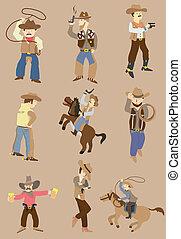 cartoon wild west cowboy icon