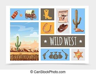 Cartoon Wild West Elements Set