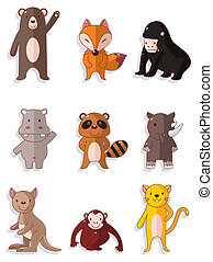cartoon wildlife animal icons set
