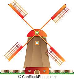 Cartoon windmill vector illustratio - Cartoon windmill...