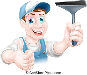 Cartoon window cleaner - A cartoon window cleaner holding a...