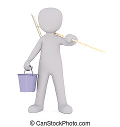 Cartoon Window Washer Holding Bucket and Squeegee - 3d...