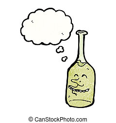cartoon wine bottle with face