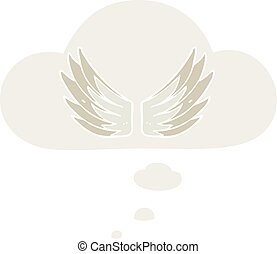 cartoon wings symbol and thought bubble in retro style