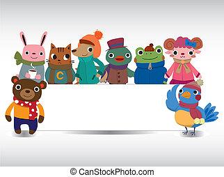 cartoon winter animal card