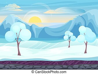 Cartoon winter game style landscape with with ice, trees, cloudy sky and snow mountains hills. Background for games.