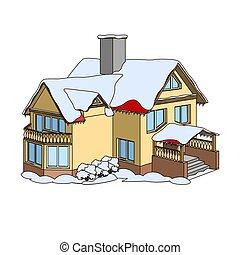 Cartoon winter house