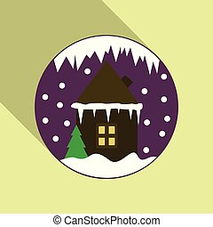 Cartoon Winter house. Vector image christmas houses covered with snow. In circle