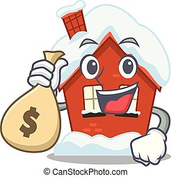 Cartoon winter house with in holding money bag character