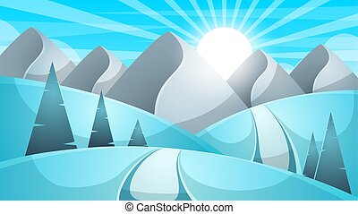 Cartoon winter landscape. Cloud, mountain, road, hill, fir illustration.