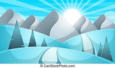 Cartoon winter landscape. Cloud, mountain, road, hill, fir illustration.