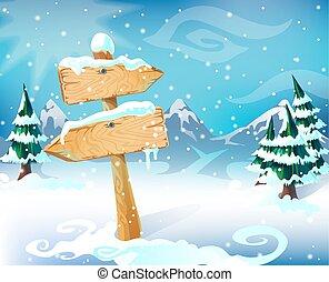 Cartoon Winter Landscape Template