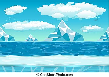 Cartoon winter landscape with ice and snow for games