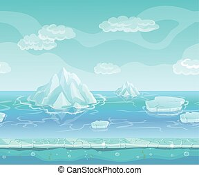 Cartoon winter landscape with iceberg and ice, snow sky. Seamless vector nature background for UI games.