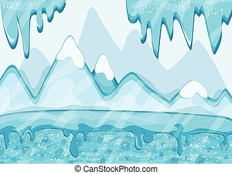 Cartoon winter landscape with iceberg and ice