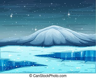 Cartoon winter landscape with mountain and frozen lake