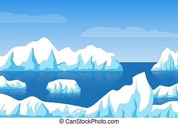 Cartoon winter polar arctic or antarctic ice landscape with iceberg in sea vector illustration