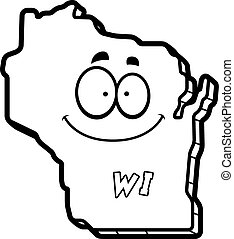 Cartoon Wisconsin - A cartoon illustration of the state of ...