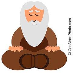 Cartoon Wise Man Meditating - A mature cartoon wise man with...