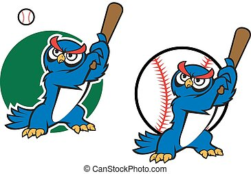 Cartoon wise old owl playing baseball standing with a raised bat in its wings