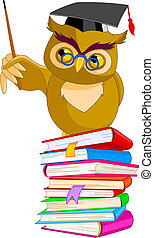 Illustration of a cartoon wise owl sitting on pile book