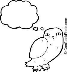 cartoon wise owl with thought bubble