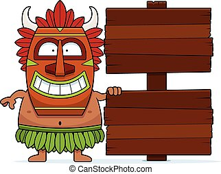 Cartoon Witch Doctor Sign - A cartoon illustration of a...