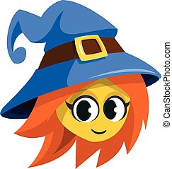 Cartoon witch face. Vector clip art illustration of Halloween witch head icon