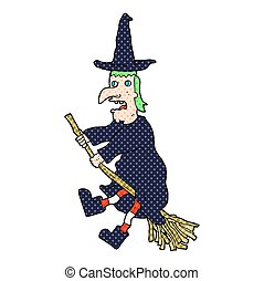 cartoon witch flying on broom