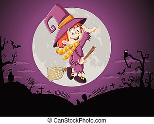 Cartoon witch girl flying