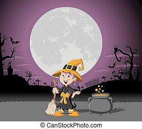 Cartoon witch girl