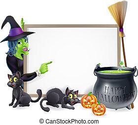 Cartoon Witch Halloween Sign