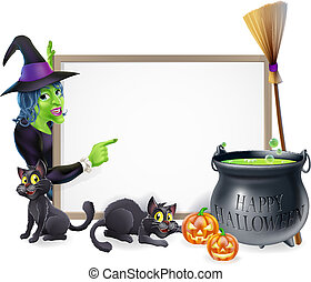 Halloween sign background with cartoon witch and happy Halloween cauldron