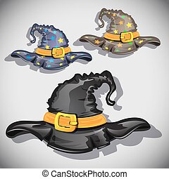 Cartoon witch hats.